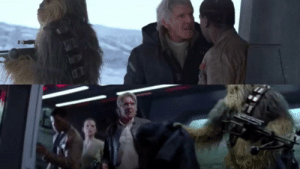 In Star Wars: The Force Awakens (2015), Han Solo throws away his jacket while entering Starkiller base. When he leaves, Chewbacca hands him his jacket back. This was improvised by Chewbacca actor Joonas Suotamo.: In Star Wars: The Force Awakens (2015), Han Solo throws away his jacket while entering Starkiller base. When he leaves, Chewbacca hands him his jacket back. This was improvised by Chewbacca actor Joonas Suotamo.