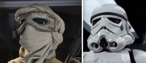 In Star Wars: The Force Awakens (2015) Rey's goggles are made from salvaged stormtrooper eyepieces.: In Star Wars: The Force Awakens (2015) Rey's goggles are made from salvaged stormtrooper eyepieces.
