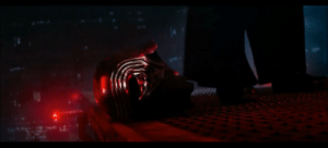 In Star Wars: The Force Awakens (2015), when Kylo is confronted by Han solo to come back to the light, he drops his helmet on the bridge. This immediately shows Kylo's true intentions as instead of dropping it into the abyss, he put it where he could retrieve it later.: In Star Wars: The Force Awakens (2015), when Kylo is confronted by Han solo to come back to the light, he drops his helmet on the bridge. This immediately shows Kylo's true intentions as instead of dropping it into the abyss, he put it where he could retrieve it later.