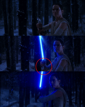 Lightsaber, Rey, and Star Wars: In Star Wars : The Force Awakens (2015), when Rey grabs the Luke's lightsaber and ignite it the lightsaber changs and then goes back to the original.