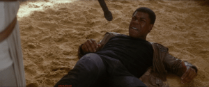 In Star Wars: The Force Awakens. Finn is accused of stealing someone's jacket. This is because he is Black: In Star Wars: The Force Awakens. Finn is accused of stealing someone's jacket. This is because he is Black