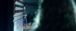 In Steve Jobs (2015), Andrea Cunningham said she finally got all the exit lights turned off for the launch, a little subplot that has been going around since the first act. Yet in the final iMac reveal, they're on: In Steve Jobs (2015), Andrea Cunningham said she finally got all the exit lights turned off for the launch, a little subplot that has been going around since the first act. Yet in the final iMac reveal, they're on