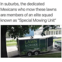 "Law and order: a judicially based fast food restaurant: In suburbs, the dedicated  Mexicans who mow these lawns  are members of an elite squad  known as ""Special Mowing Unit""  LAWN  &ORDER  SPECIAL 440-3USS Law and order: a judicially based fast food restaurant"
