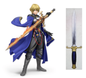 In Super Smash Bros. Ultimate the dagger in Male Byleth's alternate costume that reflects Dimitri (Fire Emblem: Three Houses) has the dagger recoloured to match the dagger Dimitri gave Edelgard in the Three Houses' story. It is the only alternate colour to have the dagger's colour changed.: In Super Smash Bros. Ultimate the dagger in Male Byleth's alternate costume that reflects Dimitri (Fire Emblem: Three Houses) has the dagger recoloured to match the dagger Dimitri gave Edelgard in the Three Houses' story. It is the only alternate colour to have the dagger's colour changed.