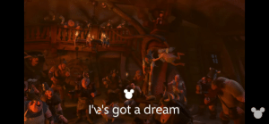 """In """"Tangled"""" (2010) During the 'I've got a dream' song. You can see Pinocchio sitting on the rafters over looking everyone. Another cross movie reference in the Disney world.: In """"Tangled"""" (2010) During the 'I've got a dream' song. You can see Pinocchio sitting on the rafters over looking everyone. Another cross movie reference in the Disney world."""