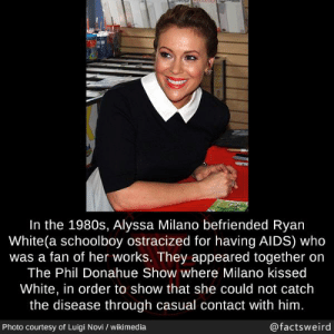 1980s: In the 1980s, Alyssa Milano befriended Ryan  White(a schoolboy ostracized for having AIDS) who  was a fan of her works. They appeared together on  The Phil Donahue Show where Milano kissed  White, in order to show that she could not catch  the disease through casual contact with him  Photo courtesy of Luigi Novi I wikimedia  @factsweird