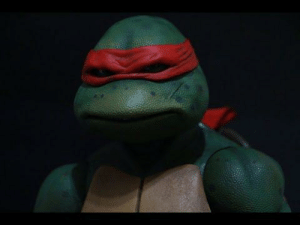 In the 1990's Teenage Mutant Ninja Turtles, Raphael has a scar. Their first fight was at the beginning, and the only one wielding bladed weapons is Leonardo. The scar is a result of a training accident. This is why Leonardo's focus is on discipline, and Raphael's aggression towards Leonardo.: In the 1990's Teenage Mutant Ninja Turtles, Raphael has a scar. Their first fight was at the beginning, and the only one wielding bladed weapons is Leonardo. The scar is a result of a training accident. This is why Leonardo's focus is on discipline, and Raphael's aggression towards Leonardo.