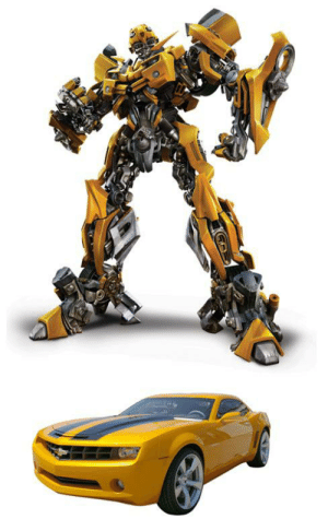 Transformers, Black, and Film: In the 2007 film Transformers, the character Bumblebee was originally supposed to be an actual, talking bumblebee. Director Micheal Bay fought hard to keep the original concept. After threats were made to cancel the project, he settled for a yellow and black Transformer.