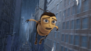"In the Bee Movie (2007) Barry Benson states ""Can't fly in rain"" multiple times to point out the fact that bees can't fly in rain.: In the Bee Movie (2007) Barry Benson states ""Can't fly in rain"" multiple times to point out the fact that bees can't fly in rain."