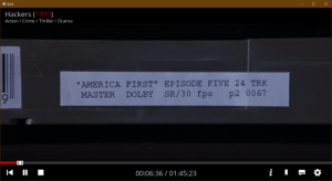 """In the beginning of """"Hackers"""" (1995), Zero Cool turns on the TV where a racist TV host is saying that """"American Indians, Latinos, and Blacks come from a genetically mediocre stock"""". The show is called """"America First"""", sharing the name of the political policy currently used by the US President.: In the beginning of """"Hackers"""" (1995), Zero Cool turns on the TV where a racist TV host is saying that """"American Indians, Latinos, and Blacks come from a genetically mediocre stock"""". The show is called """"America First"""", sharing the name of the political policy currently used by the US President."""