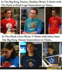 Big Bang Theory: In The Big Bang Theory, Sheldon Wears T-Shirts with  The Flash or Flash Logo Somewhere on Them  In The Flash, Cisco Wears T-Shirts with Jokes from  The Big Bang  Theory Somewhere on Them...  VIA 9GAG COM  funny.