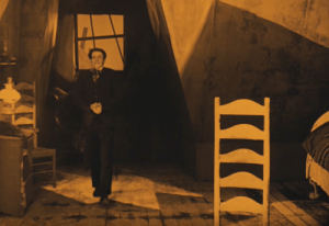 In The Cabinet of Dr. Caligari (1920), the shadows and sunlight were literally painted on the set to distort the viewer's sense of perspective: In The Cabinet of Dr. Caligari (1920), the shadows and sunlight were literally painted on the set to distort the viewer's sense of perspective