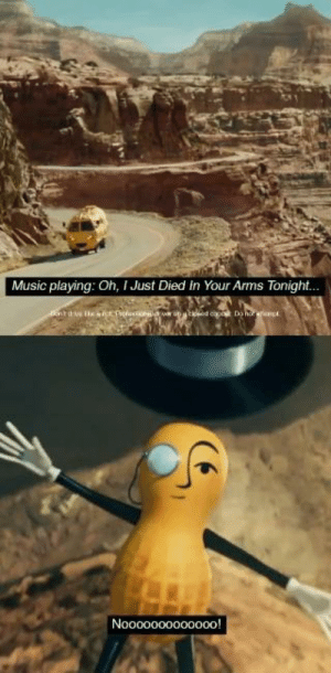 """In the cinematic experience of Mr. Peanuts death, the music playing while they're driving right before the crash is """"I just died in your arms"""". This foreshadows Mr. Peanuts death after the car crash.: In the cinematic experience of Mr. Peanuts death, the music playing while they're driving right before the crash is """"I just died in your arms"""". This foreshadows Mr. Peanuts death after the car crash."""