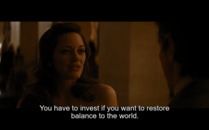 """In """"The Dark Knight Rises(2012)"""" Miranda Tate about 33 minutes in after meeting Bruce Wayne for the first time mentions """"restoring balance to the world"""" this phrase was mentioned many times in batman begins by """"ra's al ghul"""" as the goal of the league of shadows, this is a clue to her associations.: In """"The Dark Knight Rises(2012)"""" Miranda Tate about 33 minutes in after meeting Bruce Wayne for the first time mentions """"restoring balance to the world"""" this phrase was mentioned many times in batman begins by """"ra's al ghul"""" as the goal of the league of shadows, this is a clue to her associations."""