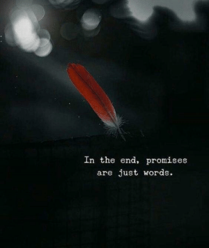 Promises: In the end, promises  are just words.