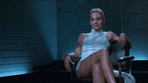 In the film Basic Instinct (1992) Sharon Stone at one point uncrosses her legs revealing that she is wearing no underwear. Then the movie rewinds and plays this scene over and over again for about 5 minutes and then I fall asleep. No one knows why this happens.: In the film Basic Instinct (1992) Sharon Stone at one point uncrosses her legs revealing that she is wearing no underwear. Then the movie rewinds and plays this scene over and over again for about 5 minutes and then I fall asleep. No one knows why this happens.