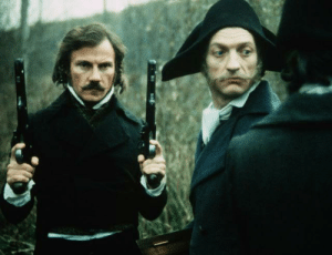 In the film The Duelists (1977), actor Harvey Keitel felt his character should toss his pistol to the ground in a scene. However, the pistols used in the film were antiques worth almost £17,000. Director Ridley Scott had to set up mattresses for the pistol to fall onto to prevent damage: In the film The Duelists (1977), actor Harvey Keitel felt his character should toss his pistol to the ground in a scene. However, the pistols used in the film were antiques worth almost £17,000. Director Ridley Scott had to set up mattresses for the pistol to fall onto to prevent damage