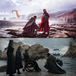 In the first picture, Toren Stark bent the knee to Aegon Targaryan-The first of his name- to save the north from a losing battle against 3 Dragons . And after 300 years, Aegon Targaryan-The sixth of his name, bent the knee to Brandon Stark, and put the end to the song of ice and fire 💔: In the first picture, Toren Stark bent the knee to Aegon Targaryan-The first of his name- to save the north from a losing battle against 3 Dragons . And after 300 years, Aegon Targaryan-The sixth of his name, bent the knee to Brandon Stark, and put the end to the song of ice and fire 💔