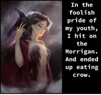 Eat Crow: In the  foolish  pride of  my youth,  I hit on  the  Morrigan  And ended  up eating  Crow.