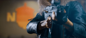 In the GUNS AKIMBO trailer with Daniel Radcliffe, Nix's gun can fire bullets without the bullets leaving the casing.: In the GUNS AKIMBO trailer with Daniel Radcliffe, Nix's gun can fire bullets without the bullets leaving the casing.