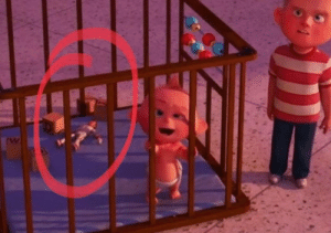 """The Incredibles, Toy Story, and Duke: In """"The Incredibles 2"""" (2018), Duke Kaboom from """"Toy Story 4"""" (2019) can be seen in the baby's crib"""