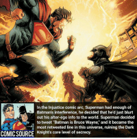 """Batman, Facts, and Joker: In the injustice comic arc, Superman had enough of  Batman's interference, he decided that he'd just blurt  out his alter-ego info to the world. Superman decided  to tweet """"Batman is Bruce Wayne, and it became the  most retweeted line in this universe, ruining the Dark  COMICSOURCE Knight's core level of secrecy. It got 25 million retweets 😲 _____________________________________________________ - - - - - - - Injustice Aquaman Batman Nightwing Flash Robin Superman EzraMiller Joker GreenLantern WonderWoman Ironman GreenArrow JusticeLeague Supergirl Marvel Deadpool DawnofJustice BenAffleck Cyborg DCComics DC DCRebirth Rebirth Spiderman ComicFacts Comcis Facts Like4Like Like"""