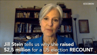 Green Party leader Jill Stein tells us why she raised over $2,5 million to challenge US election outcome  #recount2016: IN THE  Jill Stein tells us why she raised  $2,5 million for a US election RECOUNT Green Party leader Jill Stein tells us why she raised over $2,5 million to challenge US election outcome  #recount2016