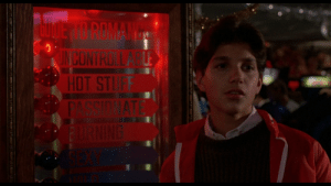 """In the Karate Kid (1984), when Daniel is going to find Ali at the arcade, the love meter next to him is lit up at """"Uncontrollable"""": In the Karate Kid (1984), when Daniel is going to find Ali at the arcade, the love meter next to him is lit up at """"Uncontrollable"""""""