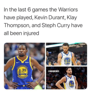 Kevin Durant, Klay Thompson, and Stephen: In the last 6 games the Warriors  have played, Kevin Durant, Klay  Thompson, and Steph Curry have  all been injured  30  Rakuten  GOLDEN  STATE  35  ONBAMEMES  WEARRIONS  WARKHO Patrick Beverley reacts to Stephen Curry's hand injury: https://t.co/fpqKB2TJzm https://t.co/N53hpRXT1b