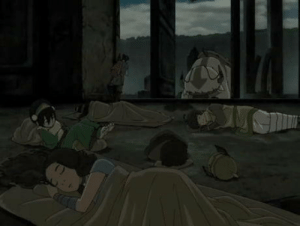 In The Last Airbender, Toph, who is blind uses her feet to see. She sleeps with her feet up since this is the equivalence for her to close her eyes.: In The Last Airbender, Toph, who is blind uses her feet to see. She sleeps with her feet up since this is the equivalence for her to close her eyes.