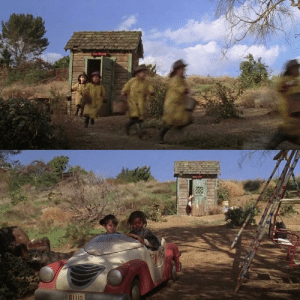 Meaning, Firefighter, and Rough: In The Little Rascals, the same shed is used when some of the rascals change into firefighter outfits and when Alfalfa comes back from his rough day in only his undies and socks, meaning it's used as a changing room for the rascals.