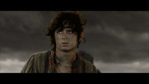 """The Lord of the Rings, The Ring, and Lord of the Rings: In """"The Lord of the Rings: The Return of the King"""" you can see prints on Frodos neck because of the heavy burden of the ring."""
