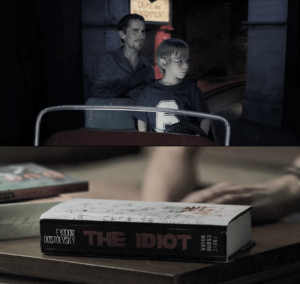 In The Machinist (2004), while Trevor and Nicholas are riding the route 666, we can read ''Crime ans Punishment'' written on a sign in the background. That is another famous novel from the author we can clearly see Trevor reading at the beggining of the movie, namely, Dostoïevsky.: In The Machinist (2004), while Trevor and Nicholas are riding the route 666, we can read ''Crime ans Punishment'' written on a sign in the background. That is another famous novel from the author we can clearly see Trevor reading at the beggining of the movie, namely, Dostoïevsky.