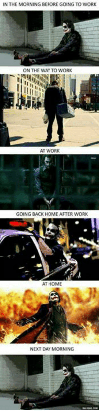 work at home: IN THE MORNING BEFORE GOING TO WORK  ON THE WAY TO WORK  AT WORK  GOING BACK HOME AFTER WORK  AT HOME  NEXT DAY MORNING