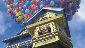 """House, Movie, and Name: In the movie """"Up"""", the balloons attached to Carl's house send it going upwards, hence the name """"Up."""""""