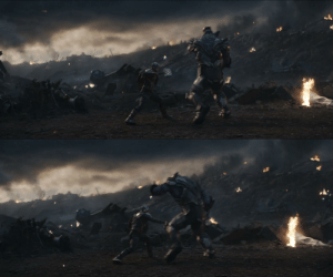America, Birthday, and McDonalds: In the movie Avengers Endgame, Captain America actually uses Mjolnir to punch Thanos in the dick. This is a reference to my 9th birthday party at a McDonalds when I used a happy meal to punch Grimace in the dick.