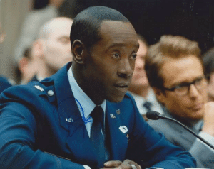In the movie Iron Man 2,The actor replacing Terrence Howard as Colonel Rhodes (Don Cheadle) is black because Rhodes was black in Iron Man 1: In the movie Iron Man 2,The actor replacing Terrence Howard as Colonel Rhodes (Don Cheadle) is black because Rhodes was black in Iron Man 1