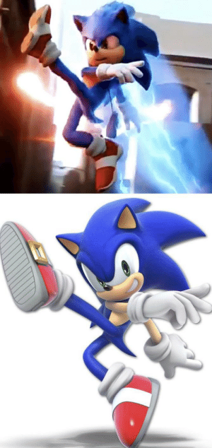 In The Newest Tv Spot For Sonic The Hedgehog 2020 Sonic Strikes A Pose Based On His Appearance In Super Smash Bros Ultimate Smashing Meme On Me Me