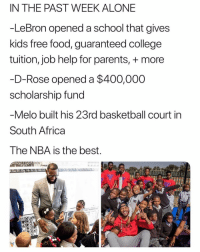 Africa, Being Alone, and Basketball: IN THE PAST WEEK ALONE  -LeBron opened a school that gives  kids free food, guaranteed college  tuition, job help for parents, + more  D-Rose opened a $400,000  scholarship fund  Melo built his 23rd basketball court in  South Africa  The NBA is the best  SE PROMISE Wow amazing.
