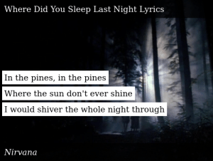 SIZZLE: In the pines, in the pines  Where the sun don't ever shine  I would shiver the whole night through