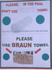 "Reddit, Pool, and Com: IN THE POOL  PLEASE;  DONT USEW  WETOWEL  YALNIZC A ODAİCINDİR/JUST FOR ROOMS  PLEASE  USE BRAUN TOWEL <p>[<a href=""https://www.reddit.com/r/surrealmemes/comments/8ol7t6/%D1%8C%D1%8F%D0%B0%D1%86%D0%B8/"">Src</a>]</p>"