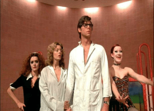 In The Rocky Horror Picture Show, during this scene in the lab, Columbia makes her hand look like a cow's udder; this is a hint that later in the film we will see her nipple.: In The Rocky Horror Picture Show, during this scene in the lab, Columbia makes her hand look like a cow's udder; this is a hint that later in the film we will see her nipple.