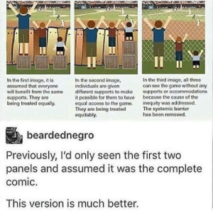 Progress in panels (via /r/BlackPeopleTwitter): In the second image,  individuals are givon  different supports to mako  it possible for thom to have  equal access to the gamo.  Thoy aro boing troated  oquitably.  In the third image, all threo  can see the game without any  supports or nccommodations  because the causo of tho  inequity was addressed.  Tho syatemic barrior  has been removod.  In the first image, it is  assumed that ovoryone  will benefit from the same  supports. Thoy are  boing treated oqually.  beardednegro  Previously, I'd only seen the first two  panels and assumed it was the complete  comic.  This version is much better. Progress in panels (via /r/BlackPeopleTwitter)