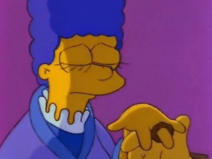 """In The Simpsons S3E12 (I Married Marge), Homer gives Marge an onion ring as an engagement ring, and speaks French: """"Pour vous"""". This is a callback to S2E12 (The Way We Was) where we learnt that Homer and Marge's first date was her tutoring him in French.: In The Simpsons S3E12 (I Married Marge), Homer gives Marge an onion ring as an engagement ring, and speaks French: """"Pour vous"""". This is a callback to S2E12 (The Way We Was) where we learnt that Homer and Marge's first date was her tutoring him in French."""