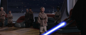In the Star Wars prequels, Anakin takes out his lightsaber to beat th e shit out of a Padowan, because he is in fact not a master as the disobedient youngling said.: In the Star Wars prequels, Anakin takes out his lightsaber to beat th e shit out of a Padowan, because he is in fact not a master as the disobedient youngling said.