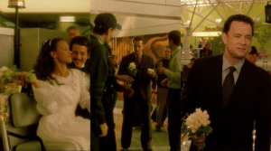 In The Terminal (2004), Viktor Navorski catches the bouquet thrown by Dolores after her wedding. He later takes the same bouquet while going to meet Amelia...: In The Terminal (2004), Viktor Navorski catches the bouquet thrown by Dolores after her wedding. He later takes the same bouquet while going to meet Amelia...