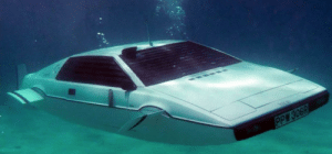 In the The Spy Who Loved Me (1977), James Bond escapes an attack helicopter using a Lotus Esprit that turns into a submarine, but it starts to leak within minutes of going under water. This is due to the fact the car was built in Britain.: In the The Spy Who Loved Me (1977), James Bond escapes an attack helicopter using a Lotus Esprit that turns into a submarine, but it starts to leak within minutes of going under water. This is due to the fact the car was built in Britain.