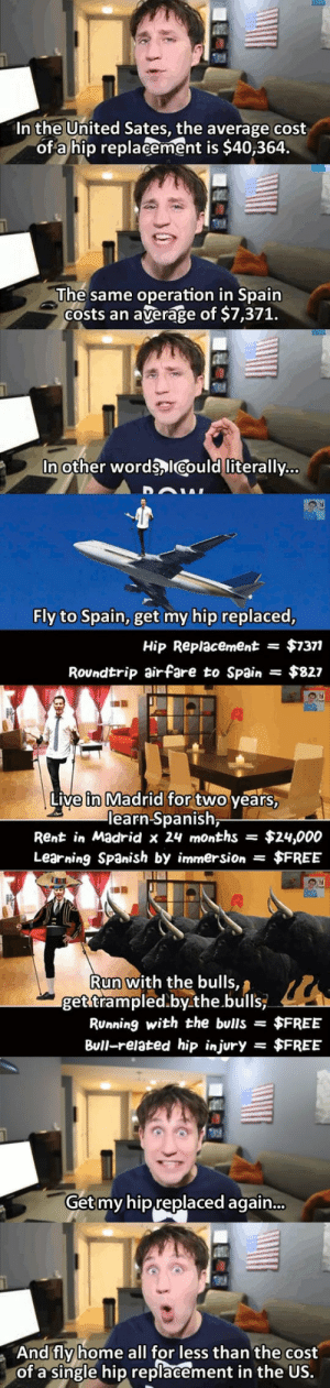 Run, Spanish, and Tumblr: In the United Sates, the average cost  of a hip replacement is $40,364  The same operation in Spain  costs an average of $7,371.   In other words,lcould literally...  Fly to Spain, get my hip replaced  Hip Replacement$$7371  Rovndtrip airfare to Spain $827  hi  Live in Madrid for two vears  earn-Spanish  Rent in Madrid x 24 months = $24,000  Learning Spanish by immersion$FREE   Run with the bulls  getstrampled.by the .bulls,  Running with the buls - $FREE  Bull-related hip injury = $FREE  Get  my hip replaced again...  And fly home all for less than the cost  of a single hip replacement in the US. theinturnetexplorer:  what a deal.   Honestly I hate this countrys medical system. Guess who use to be for  universal healthcare and is now against it? Hillary :) guess who is for it and has been forever - Bernie. My deductible this year is $2000 so I have to pay that first for my insurance to kick in. Obamacare gives people more insurance sure but many people are paying more and the ones that save not by much