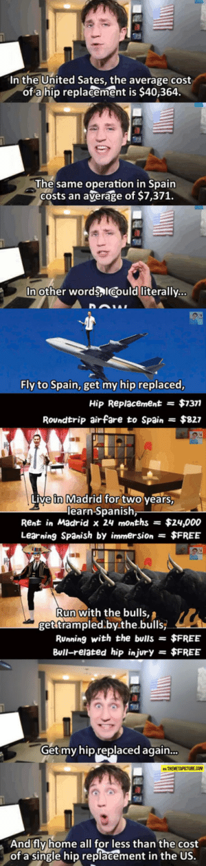 awesomesthesia:  It's The Real Cost Of Getting Sick In The US: In the United Sates, the average cost  of a hip replacement is $40,364.  The same operation in Spain  Costs an  average of $7,371.  In other words ICould literally...  Fly to Spain, get my hip replaced,  $7377  Hip Replacement  =  Roundtrip airfare to Spain  $827  Live in Madrid for two years,  learn Spanish,  Rent in Madrid x 24 months  $24,000  Learning Spanish by immersion $FREE  Run with the bulls,  get trampled.by.the.bulls  RUnning with the bulls =  $FREE  Bull-related hip injury  $FREE  =  Get my hip replaced again...  VIA THEMETAPICTURE.COM  And fly home all for less than the cost  of a single hip replacement in the US. awesomesthesia:  It's The Real Cost Of Getting Sick In The US