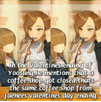 In The Valentines Ending Of Yoosung He Mentions That A Coffee Shop